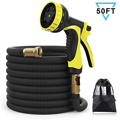 XBUTY 50ft Garden Hose, Expandable Water Hose 9 Pattern Spray Nozzle,High Pressure Extra Strength Fabric Double Latex Core 3/4″ Solid Brass Fittings with Carrying Bag