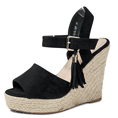 Damen Sandalen Keilabsatz Sandaletten Heels Plateau ST132