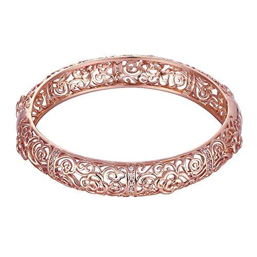 Lingduan 18K Rose Gold Plated Filigree Pattern Bangle Bracelets for Women Creative Design Elegant Pattern (Rose Gold) -
