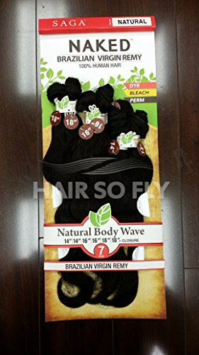 Saga NAKED Brazilian Virgin Remy 100% Human Hair | Natural Body Wave 7PCS (14