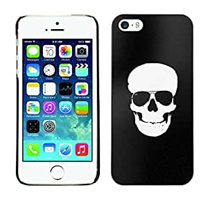 Shell-Star Arte & diseño plástico duro Fundas Cover Cubre Hard Case Cover para Apple iPhone 5 / iPhone 5S ( White Black Flag Pirate Skull Death )