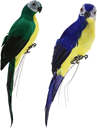 White /& Green Serenable 2Pcs Realistic Macaw Parrot Artificial Feather Bird Animal Ornament Garden Decoration