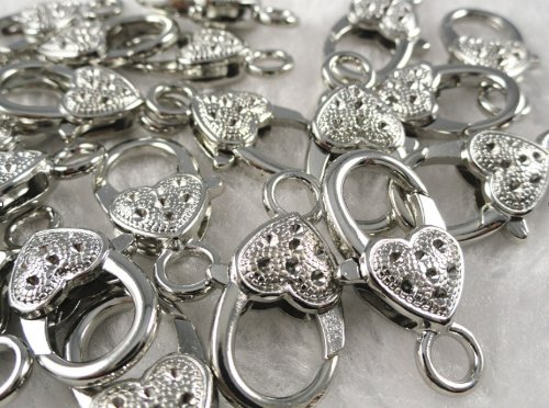 (20 Pcs Peach Heart Silver Metal Lobster Claw Clasps 21mm Findings Hot )