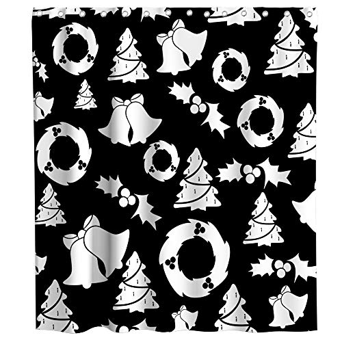 - Lifeasy Merry Christmas Theme Fabric Shower Curtain Sets Bathroom Black and White Background Wallpaper Decor with Hooks Waterproof Washable 72 x 72 inches