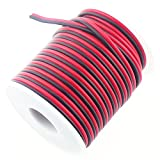 RGBSIGHT 40FT 18 Gauge Single Color LED Strip Extension Cable 18AWG 2pin 2 Color Red Black Stand Wire Conductor for LED Ribbon Lamp Tape Lighting (40 Feet per Spool)
