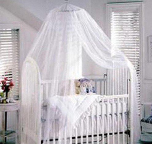 HOODDEAL Baby Mosquito Net Baby Toddler Bed Crib Canopy Netting Blue Yellow White Available (White(2.2M*5.5M))