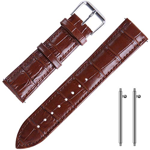 Leather Watch Straps for Men 22mm Quick Release Watchbands Brown