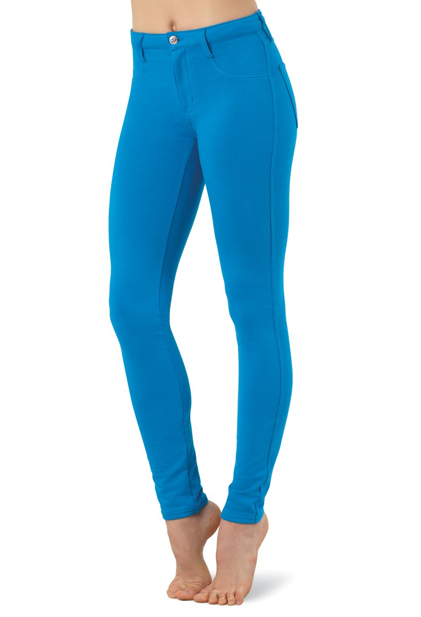 Balera Jeggings Womens Denim Leggings For Dance Girls Pants With Mid Rise Fit and Bright Colors Peacock Child X-Large by Balera