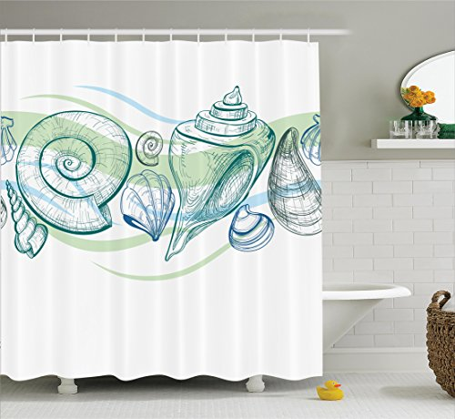 Seashells Decor Shower Curtain Set By Ambesonne, Pastel Color Graphics Of Seashells With Sketchy Features And Other Sea Elements Theme, Bathroom Accessories, 69W X 70L Inches, White - Color Seashell