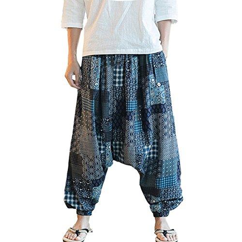 China Kimono - Hzcx Fashion Men's Vintage Cotton Blends Linen Drop Crotch Jogging Harem Pants DSC229-DK73-65-US M TAG XL
