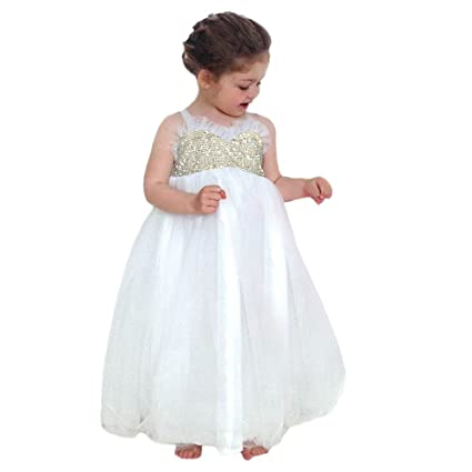 0518466d8051 Image Unavailable. Image not available for. Color: Gufenban Baby Girl  Pageant Flower Girl Dress Kids Fancy Wedding Bridesmaid Gown Formal Sequin  Princess ...