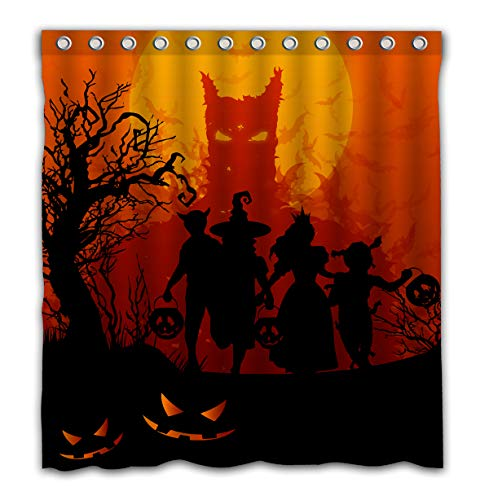 Aoskin Custom Halloween Theme Shower Curtain, Evil Pumpkins at Sunset with Color Bathroom Decoration Size of 66x72 Inches -