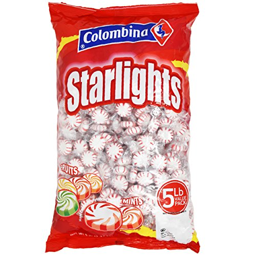 (Nosh Pack Peppermint Starlight Mints White Center Individually Wrapped Candy Bulk (5 LB))