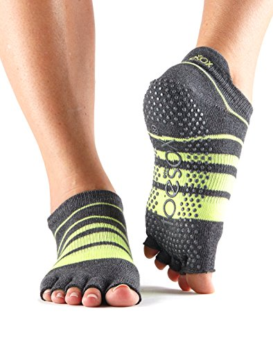 ToeSox Women's Low Rise Half Toe Grip Non-Slip for Ballet, Yoga, Pilates, Barre Toe Socks (Varsity) Medium