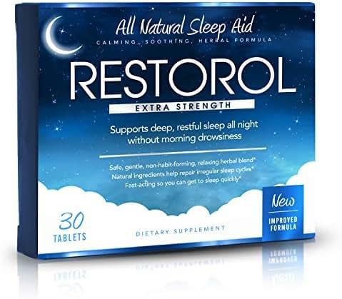 Restorol | Natural Sleep Aid – Relief from Jet Lag & Sleep Deprivation – Regulate Sleep Cycle – Get Restful Sleep (30ct)
