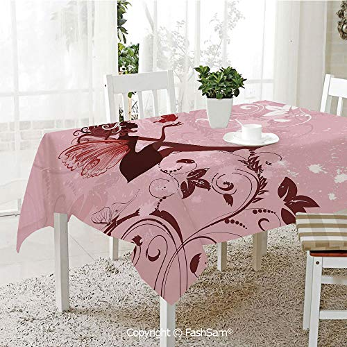 AmaUncle 3D Dinner Print Tablecloths Fairy Pixie Girl