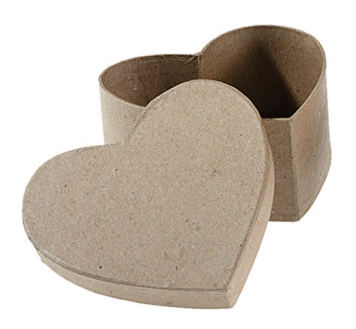 Large Heart Box - Darice Paper Mache Heart Box with Lid, 4.5 by 4.5 by 2-Inch