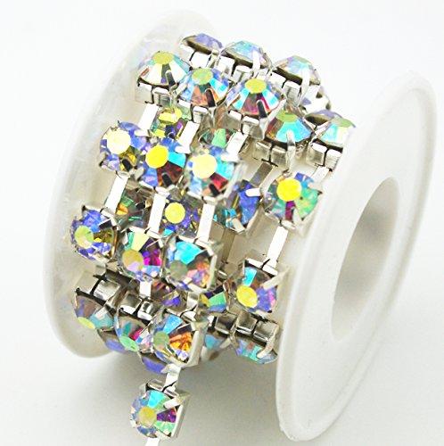 AEAOA 1 Yard 8mm Crystal Rhinestone Trims Chain Wedding Dress Sewing Craft Embellishments (Silver+Crystal AB ()