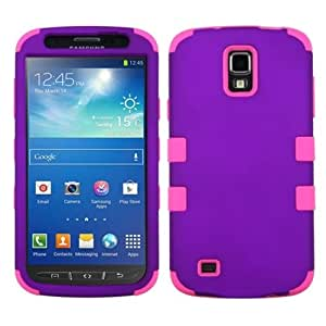MYBAT Rubberized TUFF Hybrid Dual Layer Protector Case for Samsung Galaxy S4 Active I537 - Carrying Case - Retail Packaging - Grape/Electric Pink