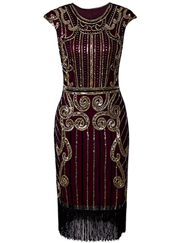 (Vijiv Womens 1920s Elegant Dresses with Sleeves Beaded Great Gatsby Flapper Dress for Party Gold)
