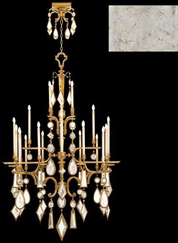 - Fine Art Lamps 714040-3, Encased Gems Crystal Chandelier Light, 480 Watt, Silver Leaf