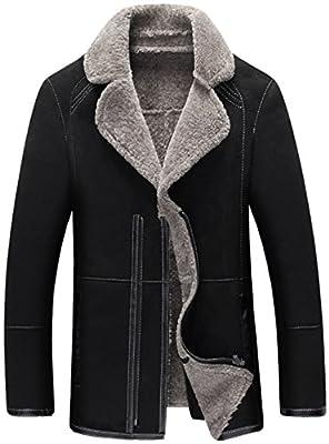 K3K Men's Winter Warm Fashion Luxury Real Suede Leather Fur Coat Jacket Lamb Wool Lining Outdoor Windproof Parka Bomber Biker