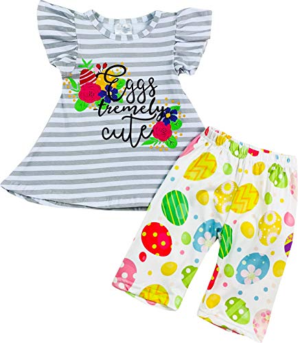 Boutique Toddler Girls Happy Easter Eggstremely Cute Tunic Floral Capri Outfit Set Gray Stripes -