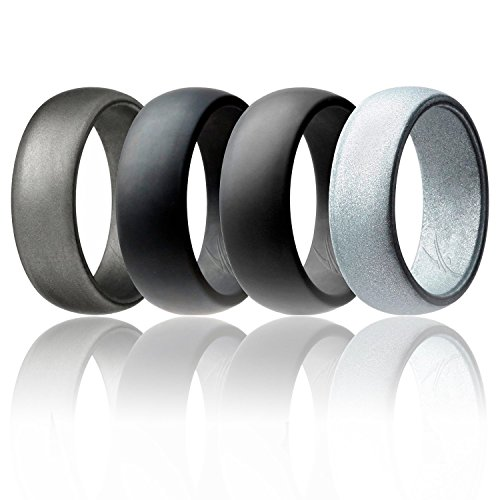 ROQ Silicone Wedding Ring Men Affordable Silicone Rubber Band, 4 Pack - Black, Grey, Silver, Beveled Metalic Platinime - Size 16