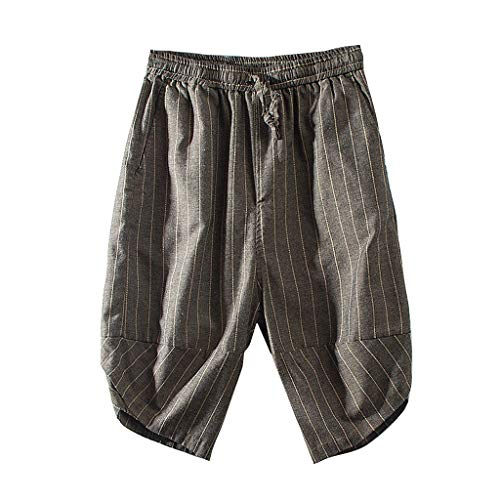 Pongfunsy Men's Surf Quick Dry Swim Trunks with Drawsting Fitness Trousers Linen Loose Pants Brown
