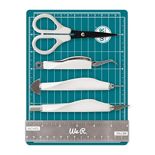 (Mini Tool Kit & Magnetic Mat by We R Memory Keepers | Includes 6 x 8-inch magnetic mat, 6-inch ruler, precision tweezers, brad setter, art knife and 5-inch precision scissors)