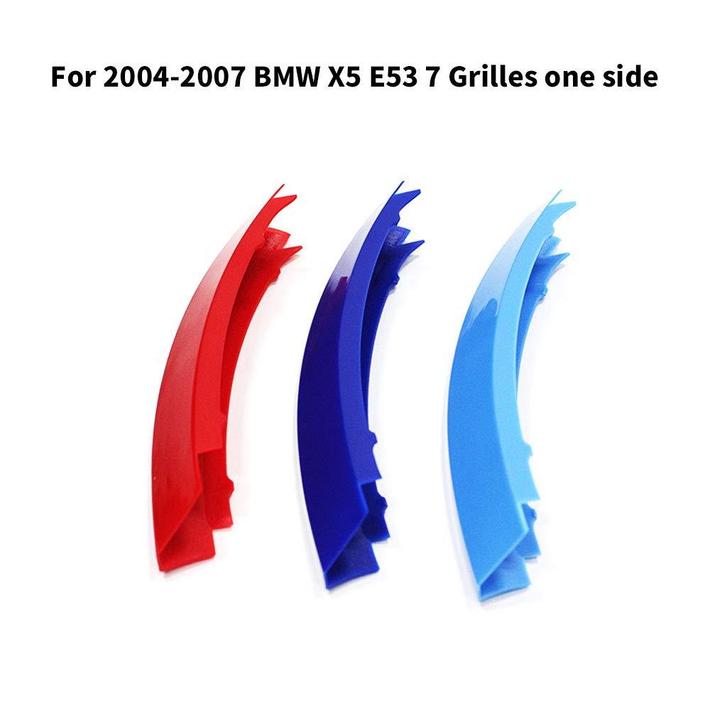 7 Rejillas Tuqiang 3D Coche Rejillas Frontales para X5 E53 2004-2007 ABS 3 Colores Tiras Parrilla Cubierta Pegatinas
