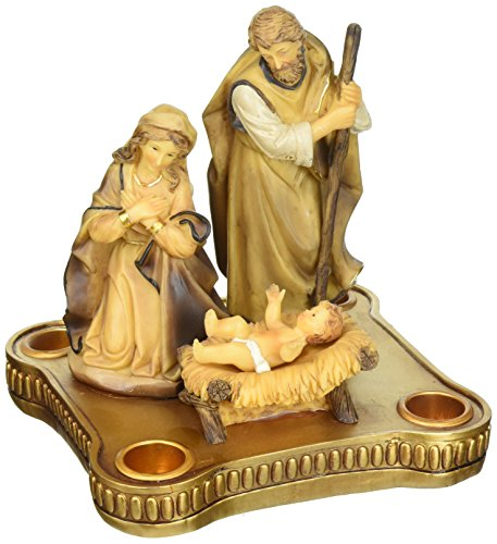 Roman Advent Candle Holder with Nativity in Center