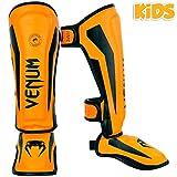Venum Kids Elite Shinguards, Neo Orange, Large (9-11 Years)