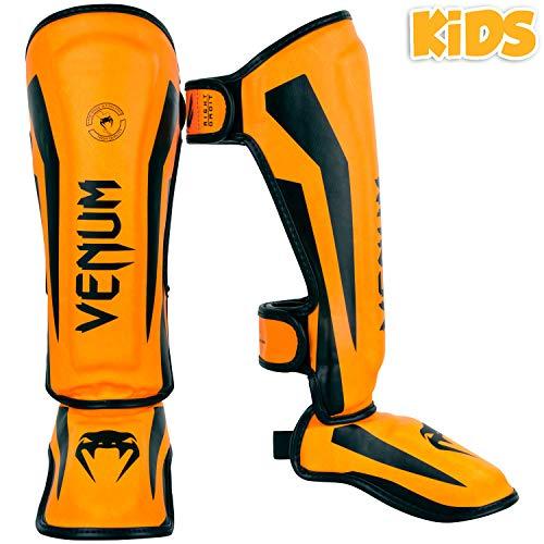 Venum Kids Elite Shinguards, Neo Orange, Medium (6-8 Years)