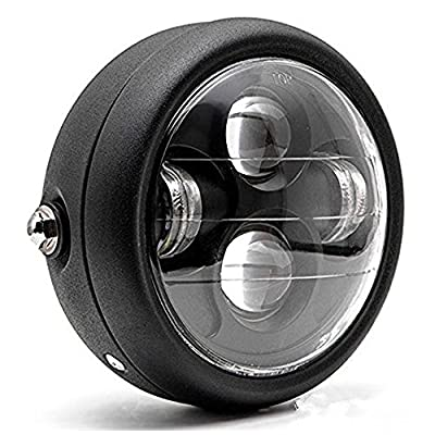 "TASWK Motorcycle Black 6.5"" Headlight Projector Head Lamp Hi/Lo Beam Bobber Chopper"