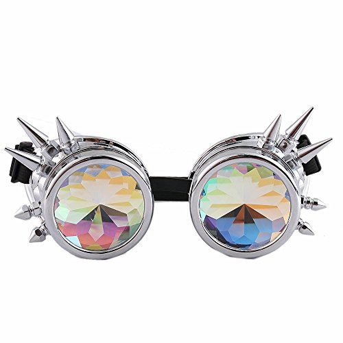 (Halloween Rave Fashion Steampunk Kaleidoscope Glasses Rivets Cosplay Goggles with Rainbow Crystal Glass Lens)