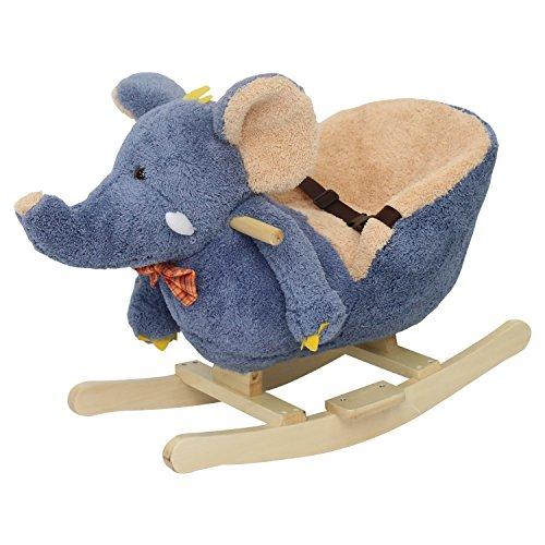 Kinbor Baby Kids Toy Plush Rocking Horse Little Elephant Theme Style Riding Rocker with Sound, Seat Belts by Kinbor