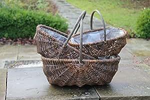 Tradicional cesta de mimbre Trug o–Juego de 3