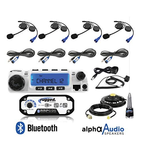 Road Off Cables - Rugged Radios RRP696 Intercom and RM60 60 Watt VHF Two Way Mobile Radio 4 Place Race System Kit with Helmet Kits, Push to Talk Cables, Intercom Cables, Antenna and Antenna Mount