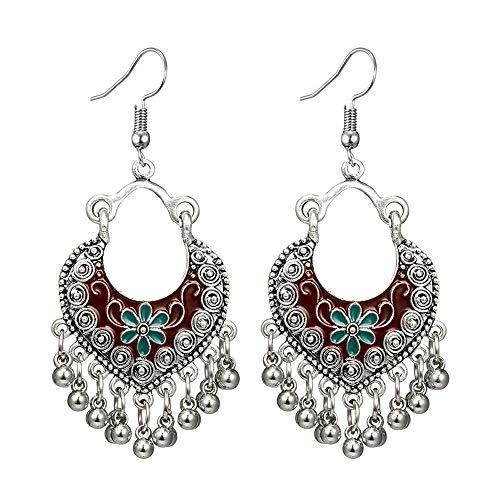 Ethnic Brocade Gypsy Engraved Flower Tassel Bells Hook Earrings Long Hollow Dangle Earrings for Women and Girls (Red(Silver))