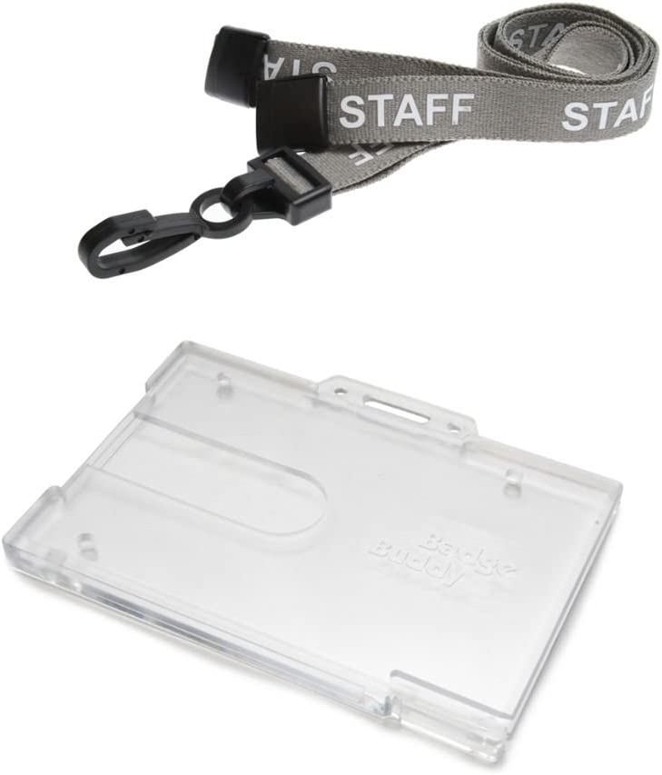 ID Card It ID Badge Holder Horizontal Badge Buddy and Printed Grey Staff Neck Strap Safety Breakaway Lanyard 75