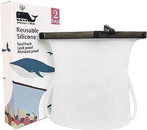 Reusable Premium Silicone Bag, Food Bag, Food Storage, Leak-Proof, foldable, Freezer Airtight Seal (Clear White (2 bags))