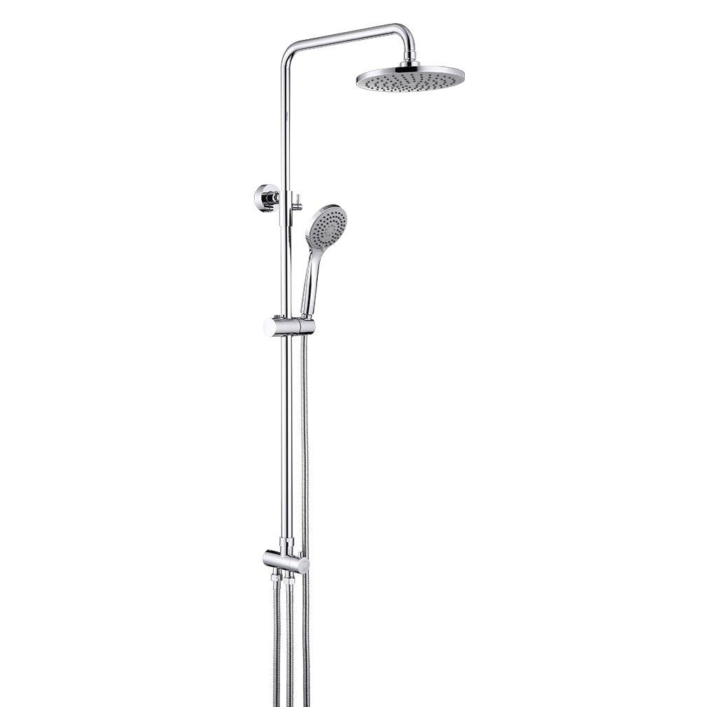 ubeegol Ensemble de douche colonne de douche cuivre mitigeur de douche Système de douche avec douche de pluie Chromé Barre de douche douchette barre de douche Set