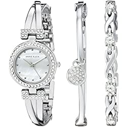 Anne Klein Women's Bangle Watch and Bracelet Set