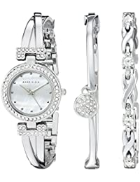 Women's AK/1869SVST Swarovski Crystal-Accented Silver-Tone Bangle Watch and Bracelet Set
