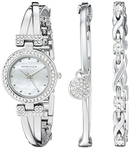 K/1869SVST Swarovski Crystal-Accented Silver-Tone Bangle Watch and Bracelet Set (Crystal Silver Tone Metal)