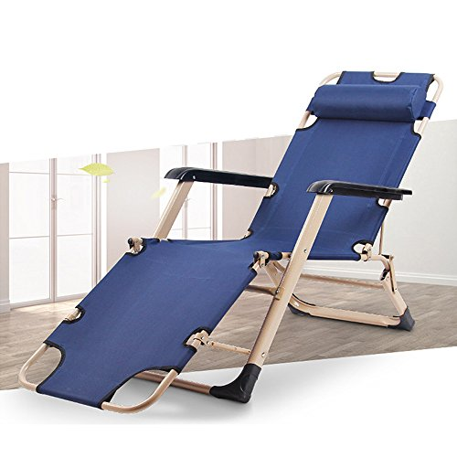 COLORTREE Adjustable Chaise Lounge Chair Recliner Portable Folding Camping Bed & Cot Dark Blue - Folding Lounge Chair
