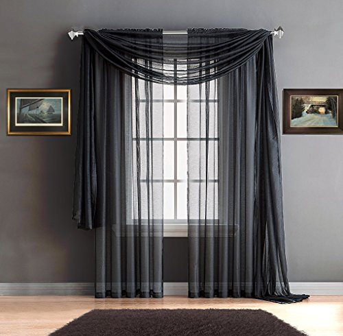 Warm Home Designs Pair of Premium Quality 54 x 63 Inch Short Sheer Grey Charcoal Faux-Linen Rod Pocket Curtains. Total Width of These Affordable Drape Panels is 108