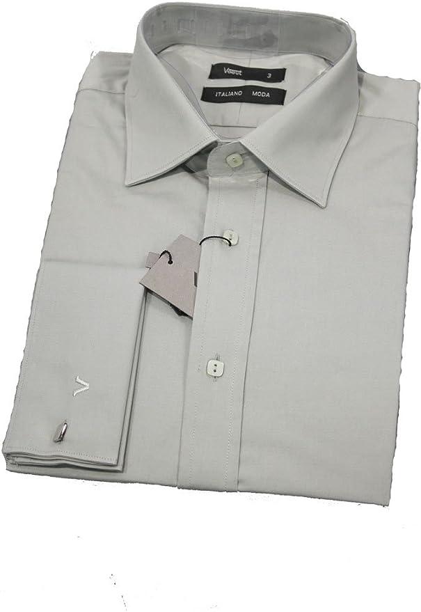 Para hombre Slim Fit Smart Casual camisa con de puño doble Gemelos Gris gris: Amazon.es: Ropa y accesorios