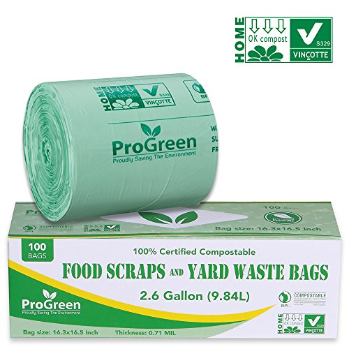 ProGreen 100% Compostable Bags 2.6 Gallon, Extra Thick 0.71 Mil, 100 Count, Small Kitchen Trash Bags, Food Scraps Yard Waste Bags, Biodegradable ASTM D6400 BPI and VINCOTTE Certified. ()